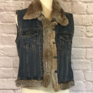 Jackets & Blazers - Denim vest with rabbit fur trim size M